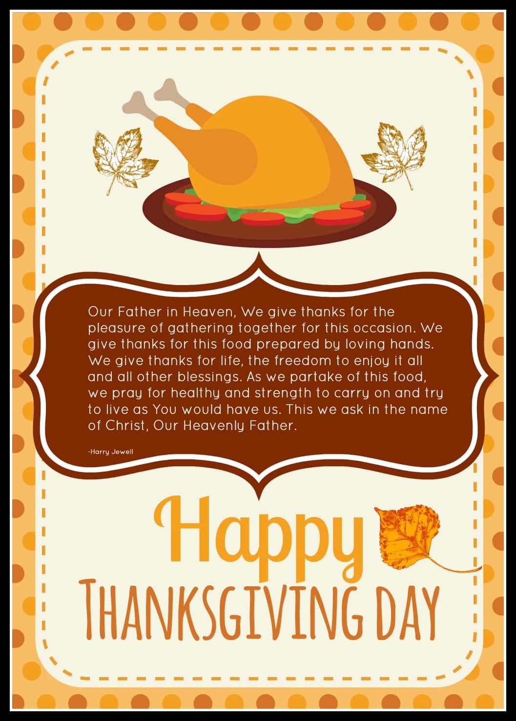 thanksgiving prayer free printable