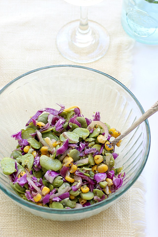 Sweet and yummy fava bean salad recipe with honey vinaigrette dressing | Delightful Mom Food