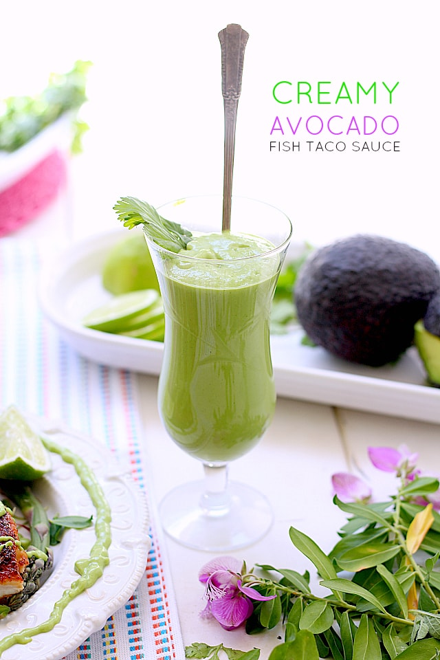 Creamy Avocado and Cilantro Fish Taco Sauce. Made of cilantro, lime juice, Greek yogurt and a sprinkle of salt to compliment your favorite dish.   Delightful Mom Food