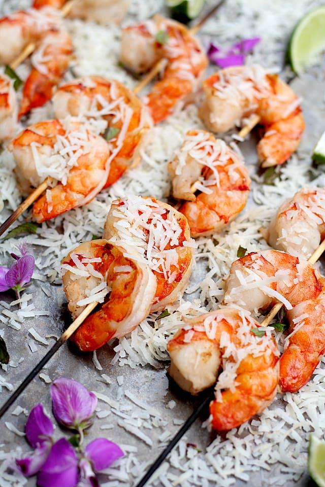 Grilled coconut milk shrimp recipe