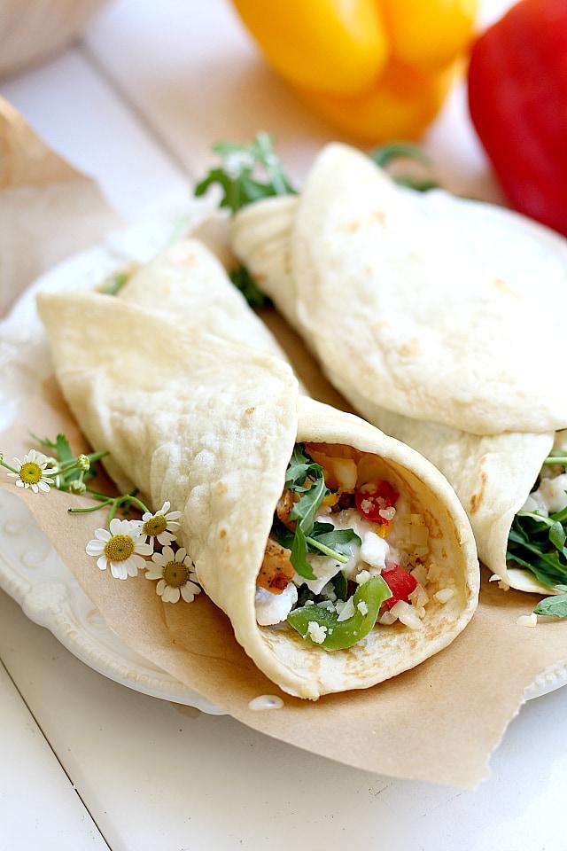 cauliflower rice burrito with sauce