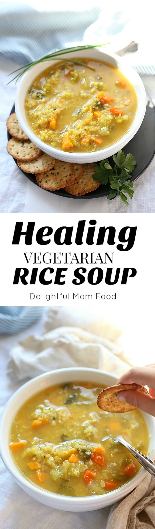 This hearty vegetarian crock pot rice soup recipe is the perfect food-for-your-soul! Made with vegetable broth or if you are not a vegetarian add chicken for added protein! Delightful Mom Food #rice #soup #recipe #slowcooker #easy #healthy #vegetarian #vegetable