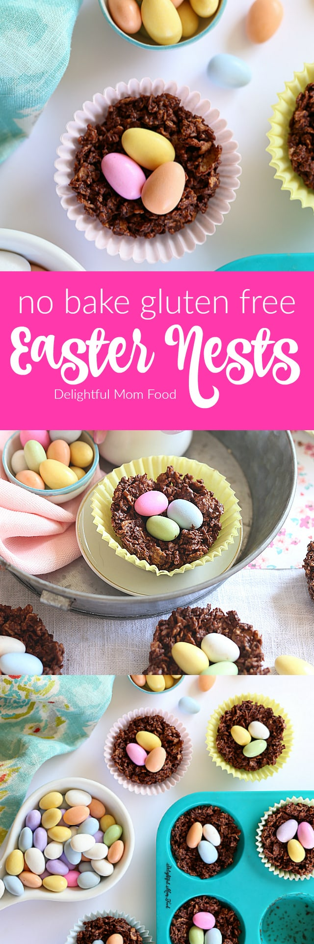 Chocolate Easter Nest Treats! Gluten Free Dairy Free Nut Free No Baking Required! | Delightful Mom Food