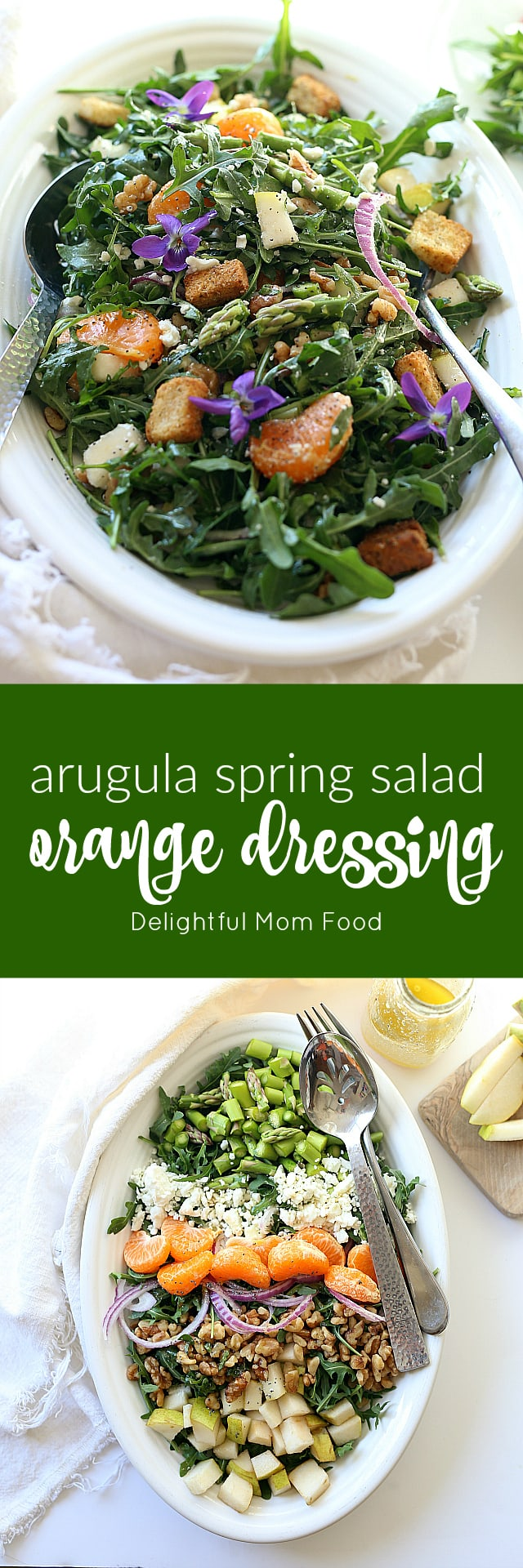 The lightest most satisfying vegetarian arugula salad packed with rocket (rucola) leaves, meaty walnuts, earthy red onions, hints of feta, nutty asparagus vegetables and topped with a savory sweet mandarin orange salad dressing. Perfect for a spring brunch or dinner especially when the evenings are lighter longer!