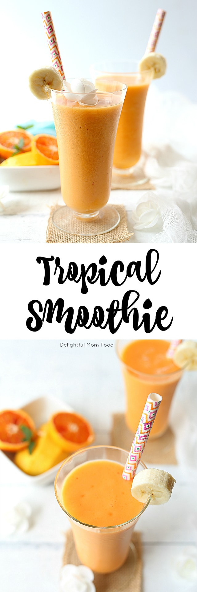 A tropical smoothie that will have you dreaming of being on an island by the sea! Made with carrots, pineapple, mango, banana, lime, blood oranges, turmeric and ginger.