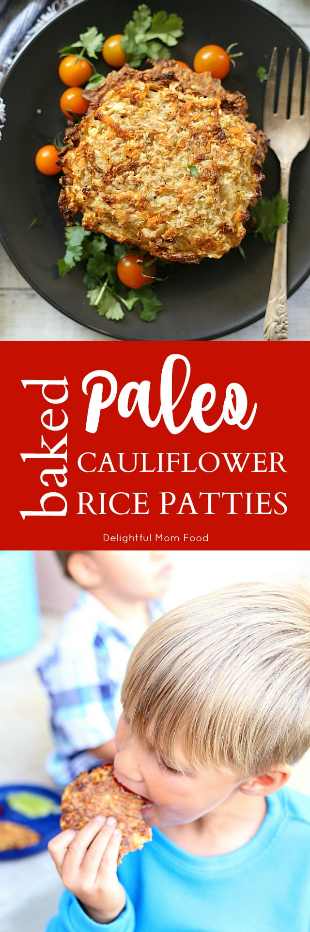 Cauliflower rice paleo fritters baked with carrots shreds, Parmesan cheese and tapioca flour for a healthy and easy vegetarian + gluten free sheet pan dinner or snack that tastes fried!