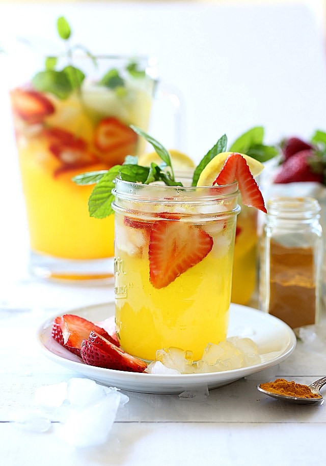 Turmeric lemonade is low glycemic sugar and strawberries make this delicious anti-inflammatory drink