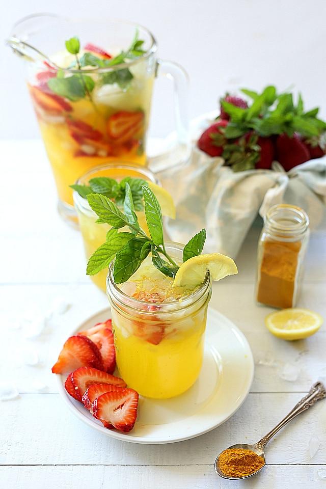 Turmeric Lemonade With Natural Sugar and Strawberries