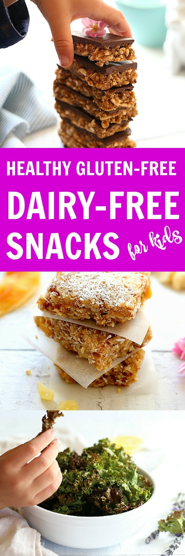 Here's the scoop on what to make! The most delicious healthy, dairy free, and gluten free snacks for kids! Tips and recipes that are easy, non processed and will give children the sustainable energy they need for growing!
