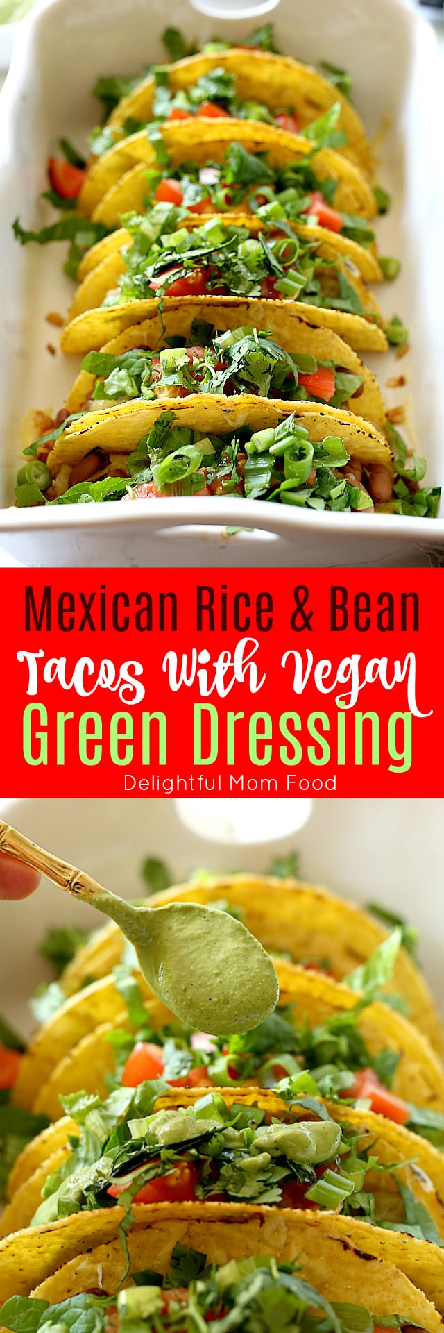 Mexican rice, beans, cheese, lettuce, cilantro and tomatoes stuffed into warm taco shells and topped with a creamy green vegan sauce. Super easy and healthy recipe for hard shell tacos in under 30 minutes!
