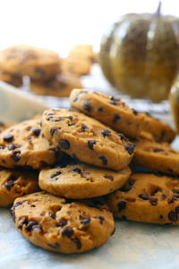 Pumpkin Chocolate Chip Cookies made gluten-free and dairy-free! These easy healthy cookies are incredibly easy and fluffy with savory notes of cinnamon, orange and vanilla spices to warm your taste buds this holiday season.