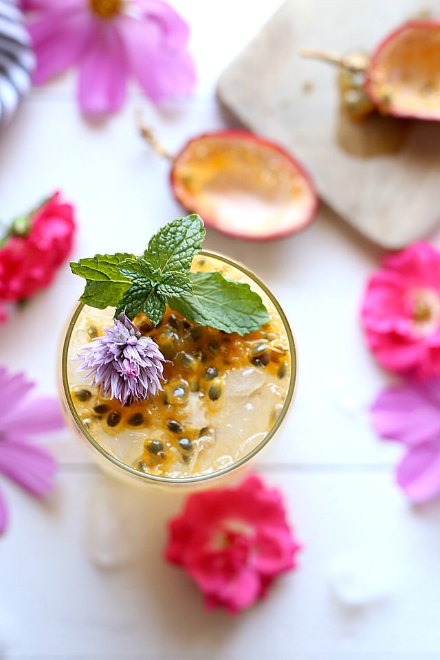 Overhead of passion fruit cocktail