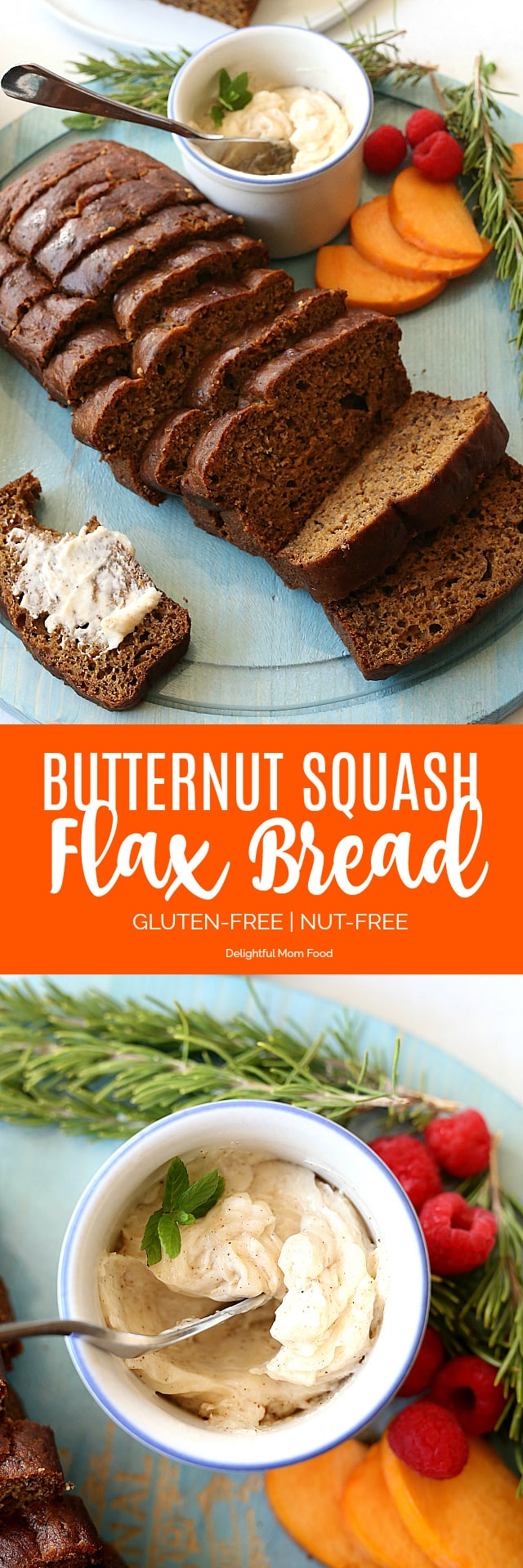 Butternut squash flax bread is so warm, moist and delicious without any dairy or added oils! A new healthy holiday favorite bread loaf to bring to the table!