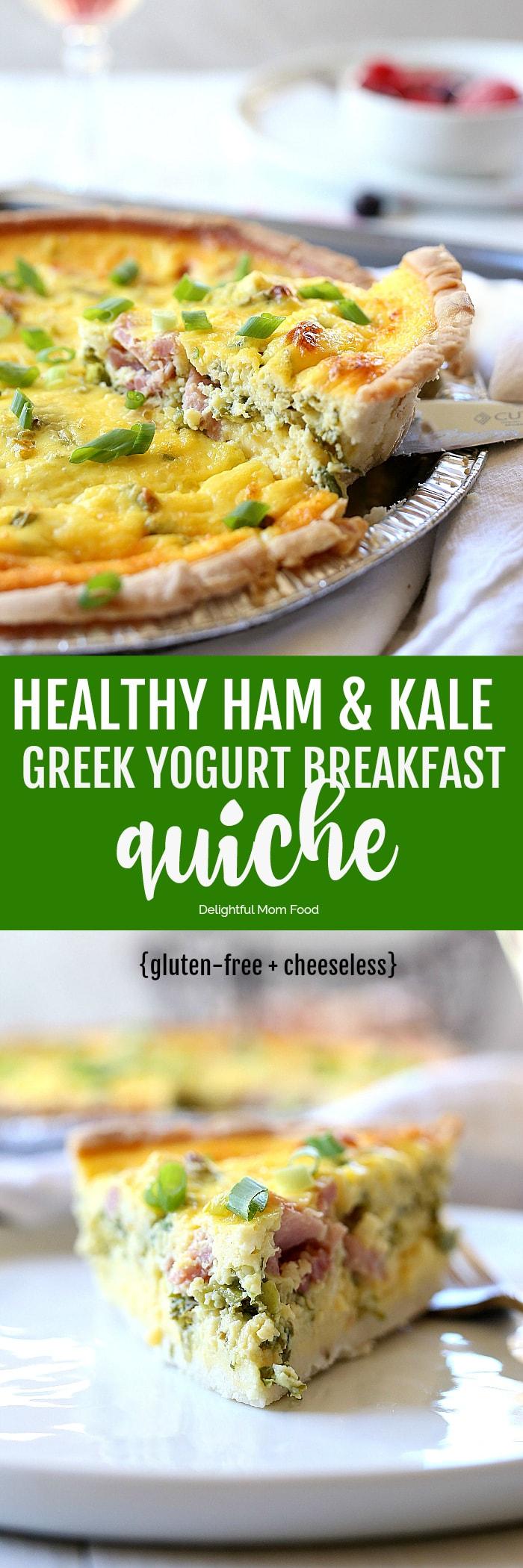 Healthy kale ham greek yogurt quiche recipe cheeseless delightful pin this healthy quiche recipe forumfinder Images