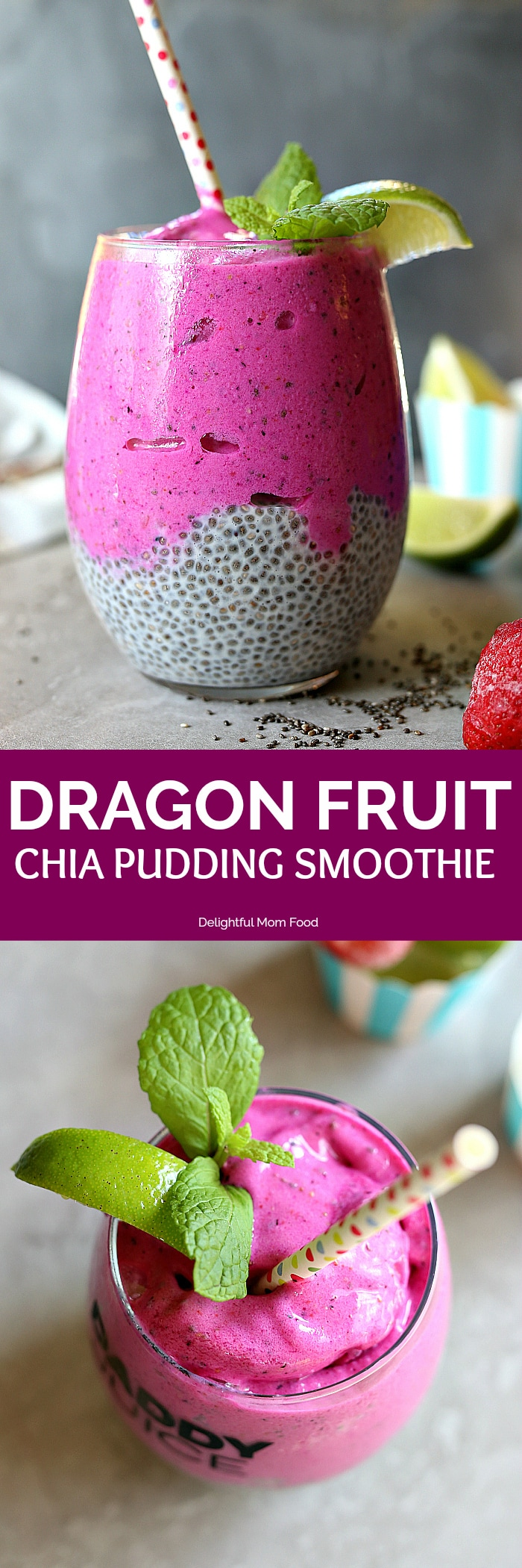 Vibrant pink dragon fruit smoothie topped on creamy chia pudding! It is a high fiber energizing superfood and is the perfect way to start your day, eat as a snack or enjoy after a workout to refuel your body! #dragonfruit #smoothie #bowl #chiapudding #healthy #breakfast #snack #easy #pitaya | delightfulmomfood.com