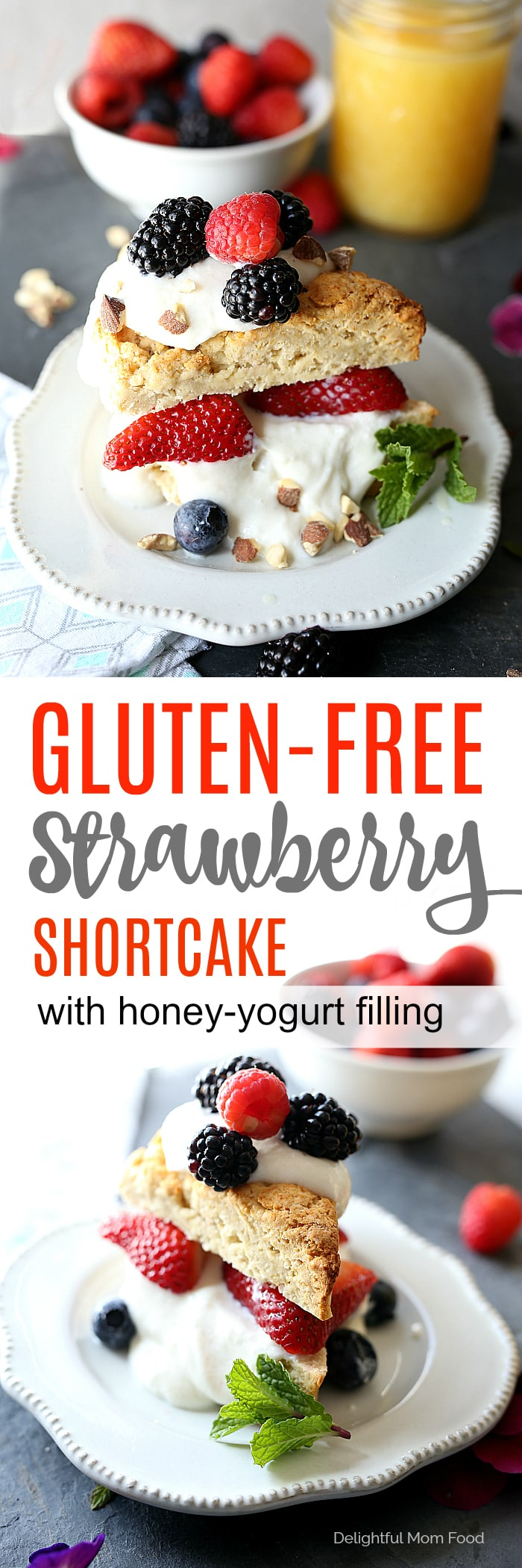 Gluten free strawberry shortcake with fresh strawberries, blueberries, blackberries and raspberries topped on a Greek yogurt honey cream filling! #strawberryshortcake #berry #recipe #glutenfree #healthy #breakfast #pastry | Delightfulmomfood.com