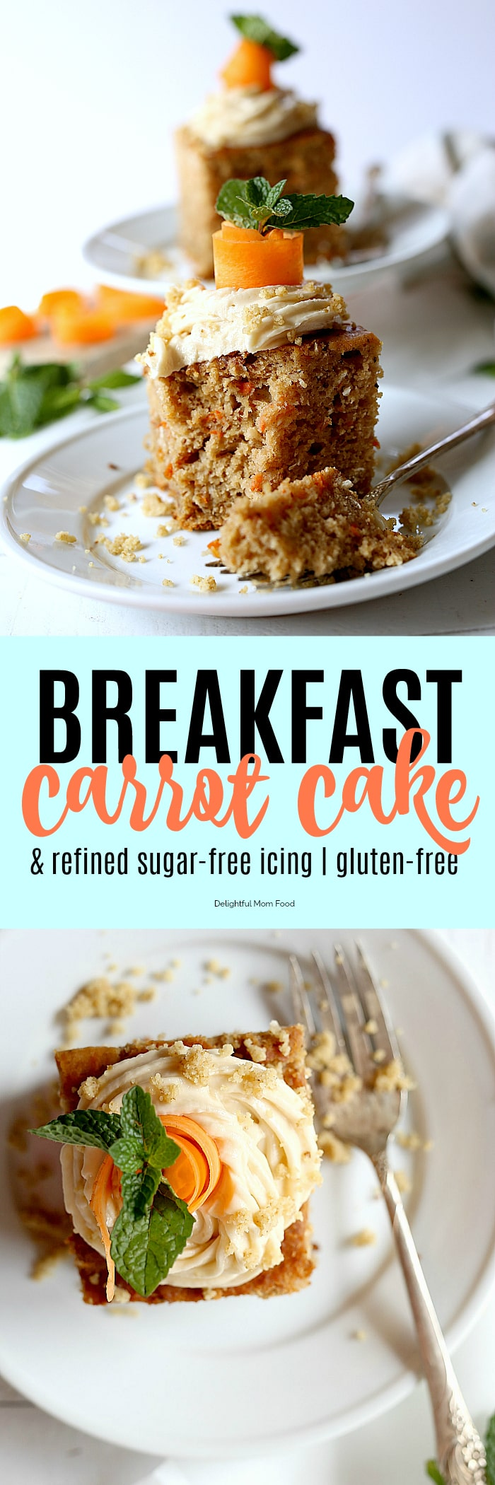 A healthy and easy carrot cake recipe that is so delicious, gluten-free, made with oats and free of refined sugars! It is healthy enough to start your day for breakfast and is topped with buttery refined sugar-free icing made naturally with maple syrup and tapioca flour! #easy #healthy #glutenfree #carrotcake #recipe #oats #refinedsugarfree #icing #Easter #dessert #breakfast | delightfulmomfood.com