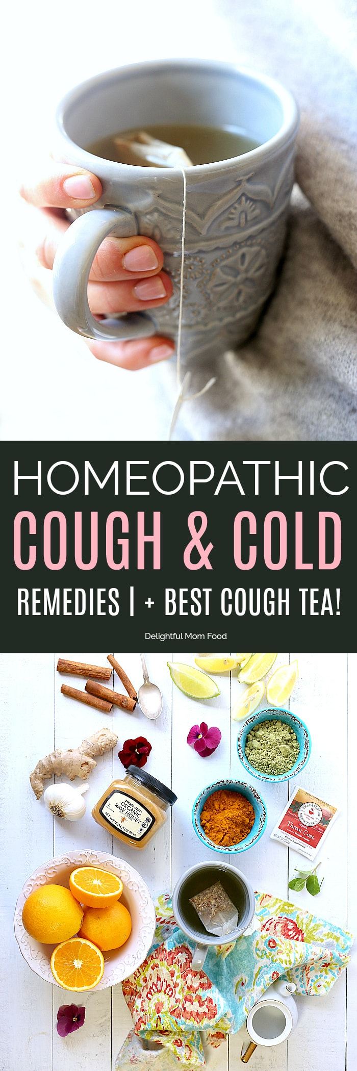 Natural remedies for cough, cold and flu symptoms to help heal your body quickly, boost immunity plus grandma's best tea recipe to fight a naughty cough that doesn't seem to go away! #homeopathic #remedies #healing #cough #cold #flu #home #natural #tea | Delightfulmomfood.com