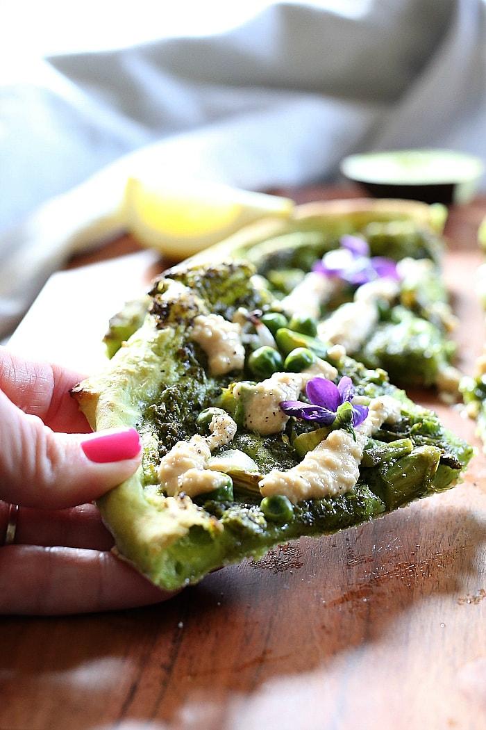 vegan avocado slice of pizza
