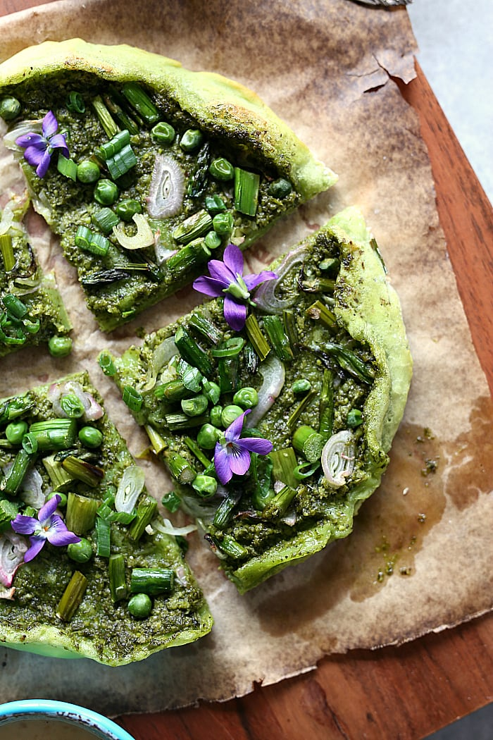 Avocado Pizza Crust With Pesto Sauce