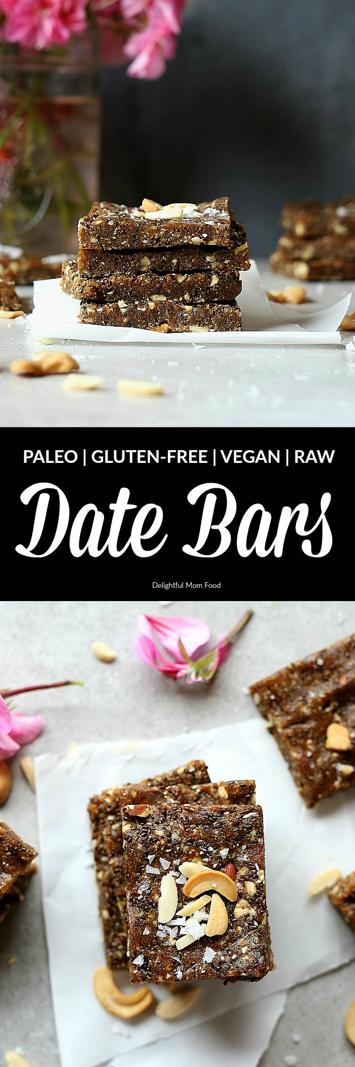 Heavenly date bars that are deliciously good for you! A decadent raw bar rich in natural sweetness from Medjool dates! These easy raw chia date bars take as little as 10 minutes to make! They are the chewy, soft, crunchy and make the perfect superfood energy pick-me-up after a workout or first thing in the morning! #raw #date #bars #snacks #healthy #glutenfree #grainfree #paleo #easy #homemade | Recipe at delightfulmomfood.com