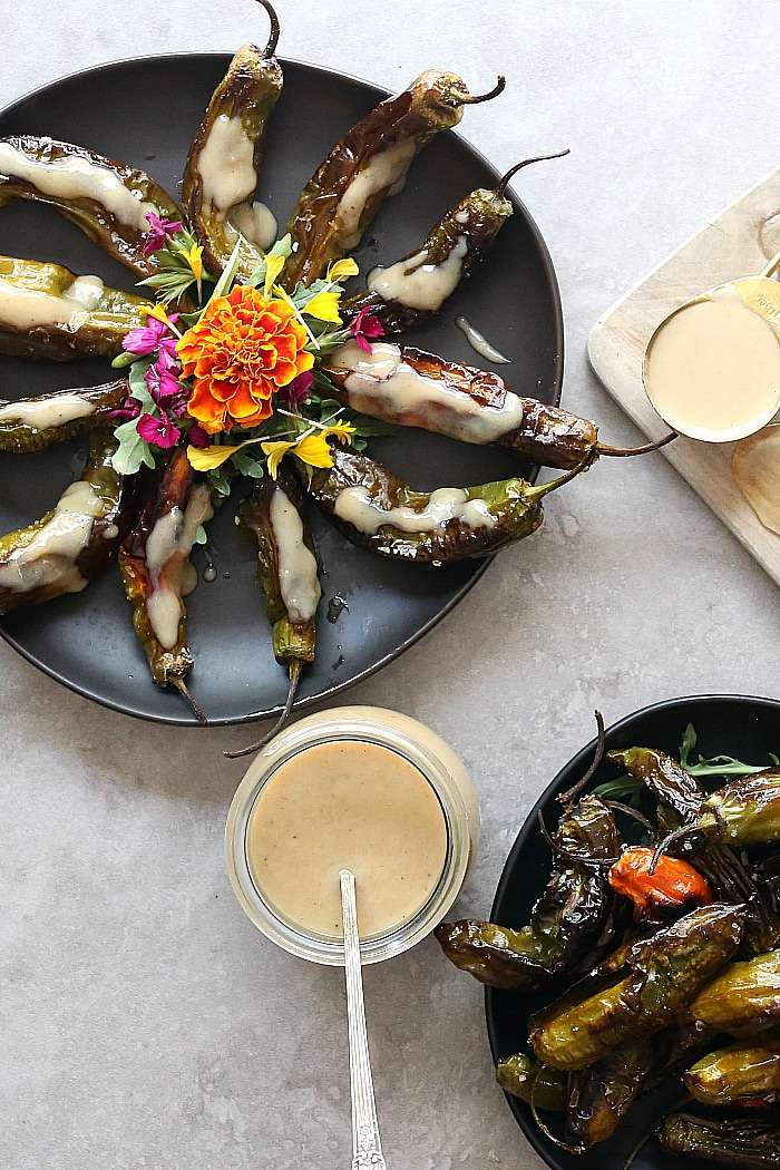 roasted shishito peppers with tahini sauce