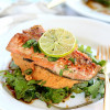 Teriyaki Salmon With Spicy Chickpea Sweet Potato Puree