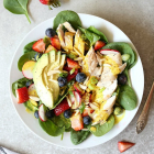 Chicken Strawberry Spinach Salad with Turmeric Almond Dressing