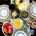 1 Hour Honey-Glazed Ham with Buttery Vegetables and Sauerkraut