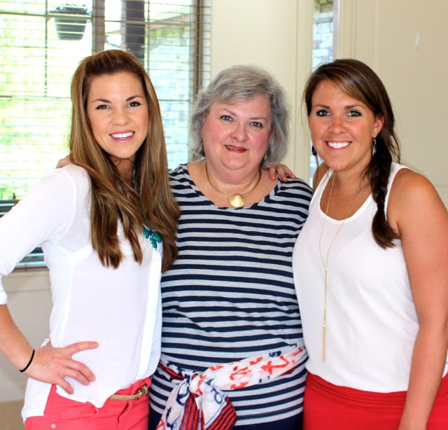 3 women dressed in red white and blue