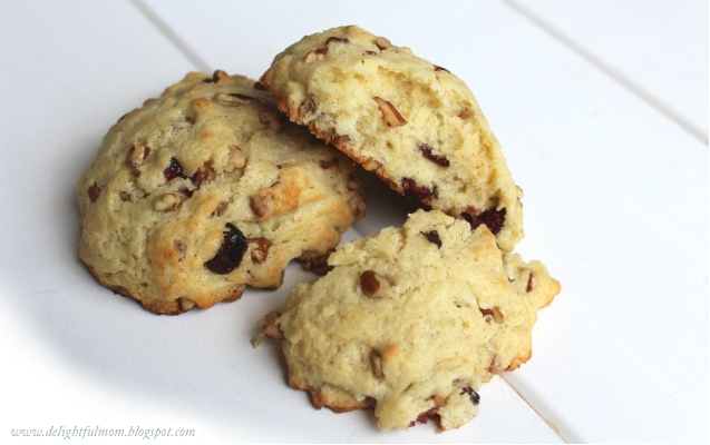 3 scones made with pecans and dried cherries