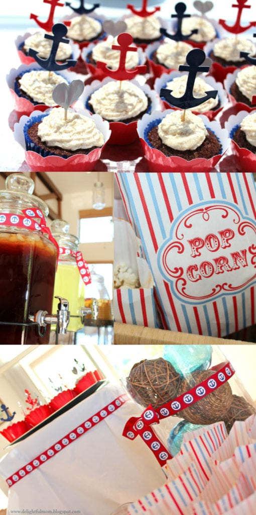 nautical colored party with cupcakes and popcorn