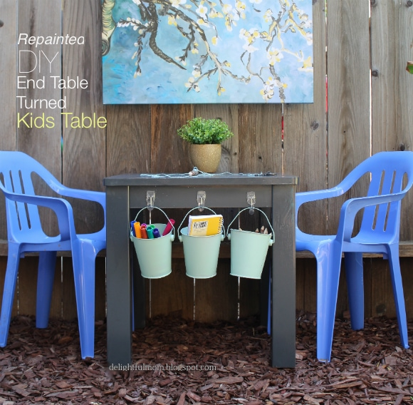 Repainted DIY End Table Turned To Kids Table | Delightful .