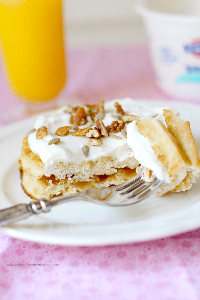 Low Sugar Maple Greek Yogurt Topped Waffles recipe