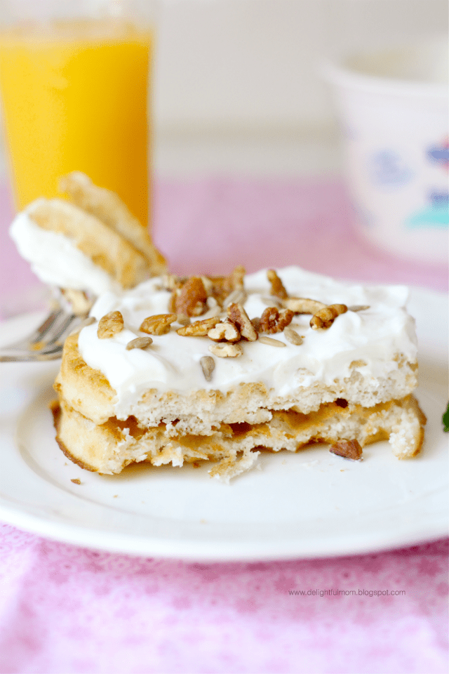 low sugar maple greek yogurt topped waffles