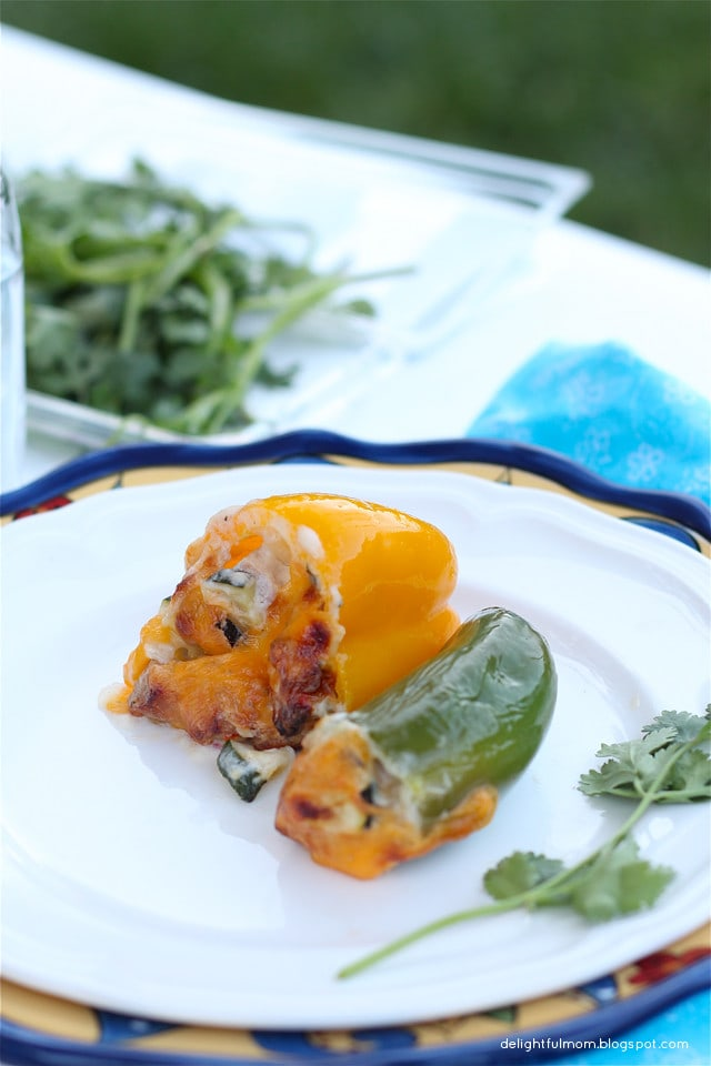 Grilled Stuffed Jalapenos & Sweet Peppers | Vegetarian Version Included