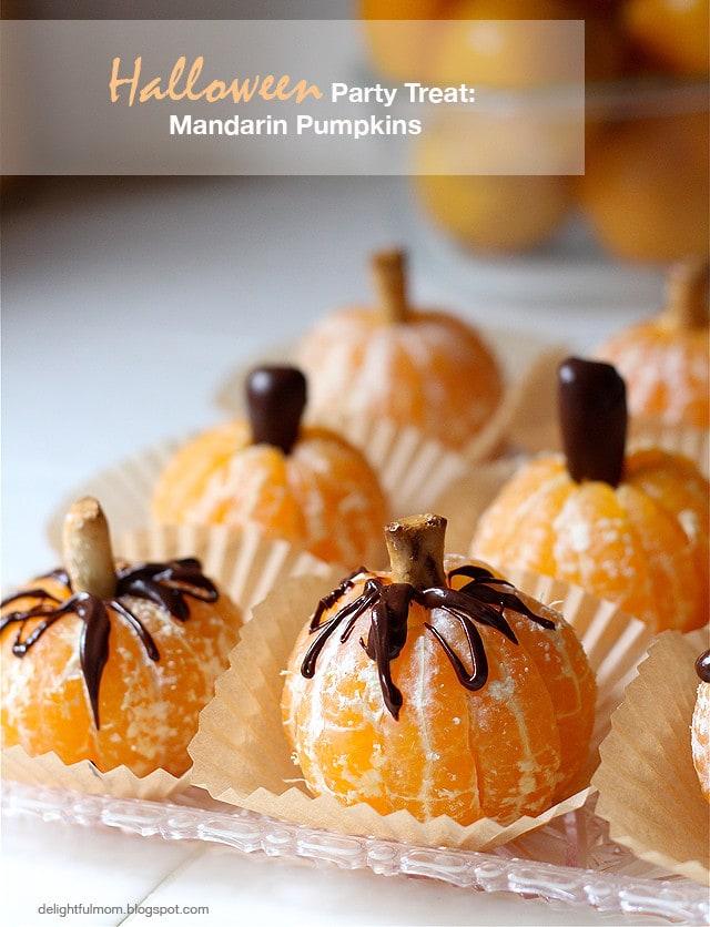 Halloween Snacks: Mandarin Pumpkins