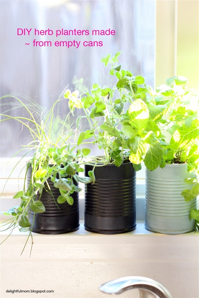 herb planters made from cans