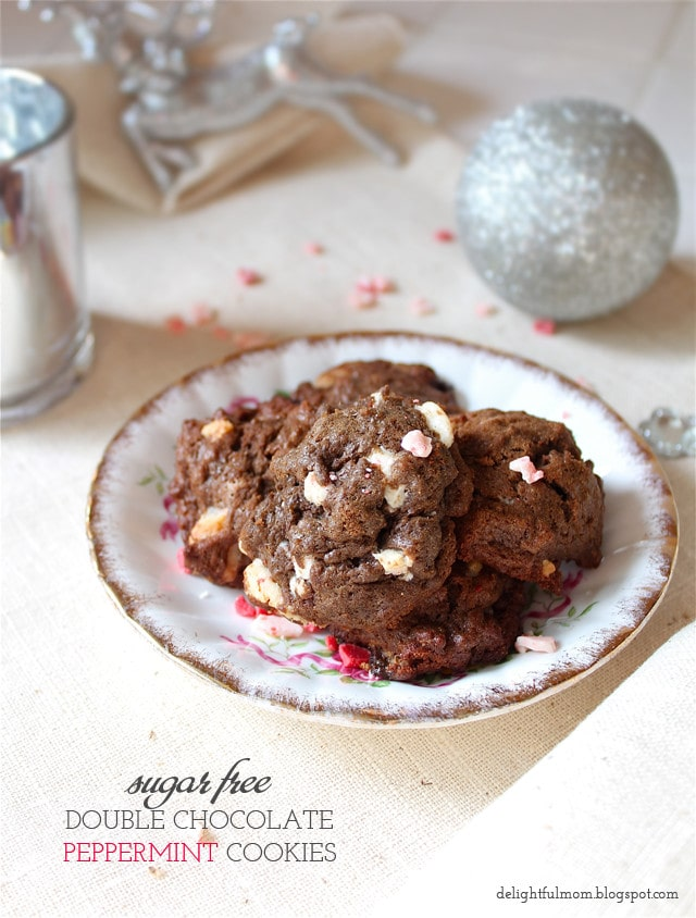 Sugar-Free Double Chocolate Peppermint Cookies