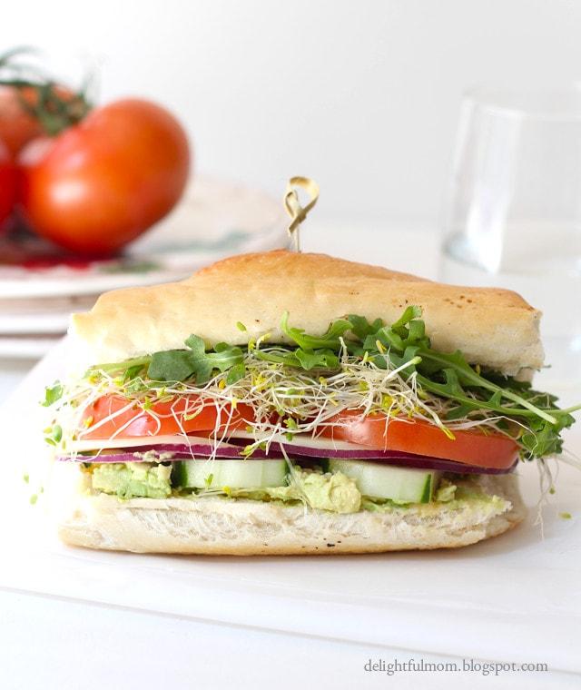 Gluten Free French Bread Roll Veggie Sandwich