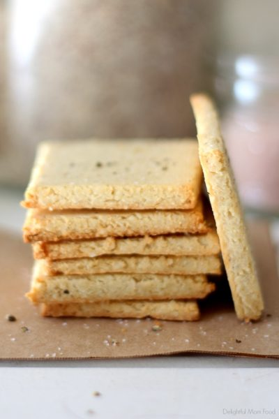 stack of homemade keto crackers made with almond flour and coconut flour