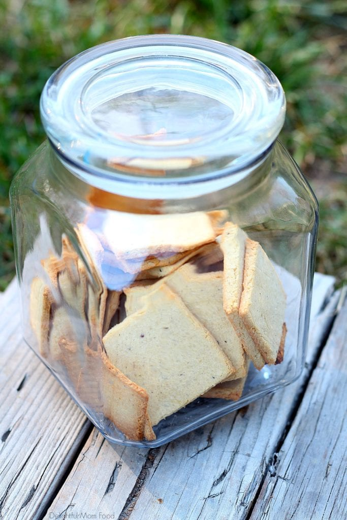 low carb crackers in a glass jar