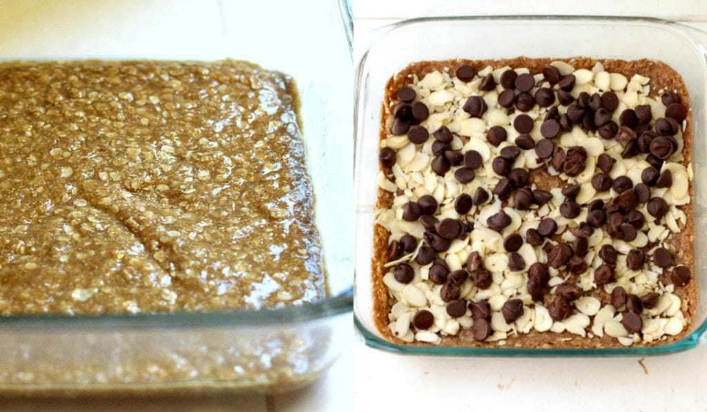 how to layer caramel chocolate bars in a baking pan