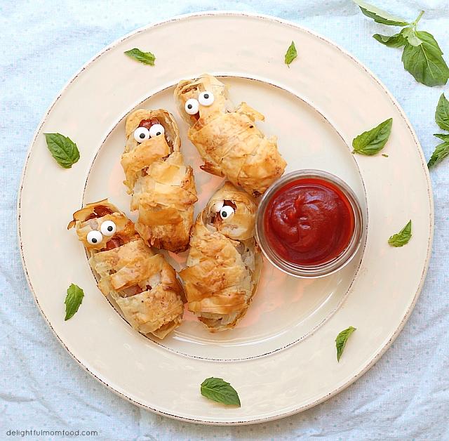 Crispy Phyllo Wrapped Hot Dog Mummies Courtesy of Food Network Kitchen