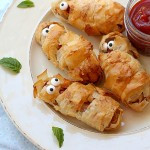 Crispy Phyllo Wrapped Hot Dog Mummies Courtesy of Food Network Kitchen