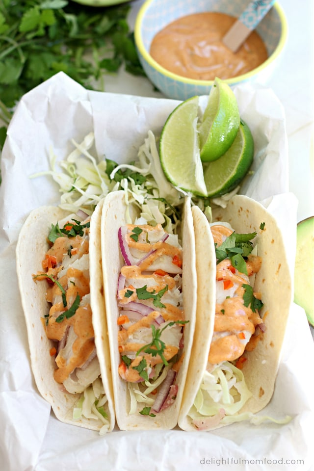 Cod fish tacos with southwest sauce delightful mom food for What kind of fish for fish tacos