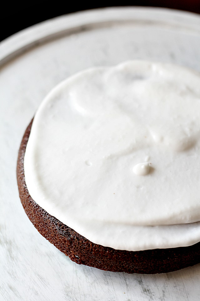 Chocolate cake with coconut cream icing