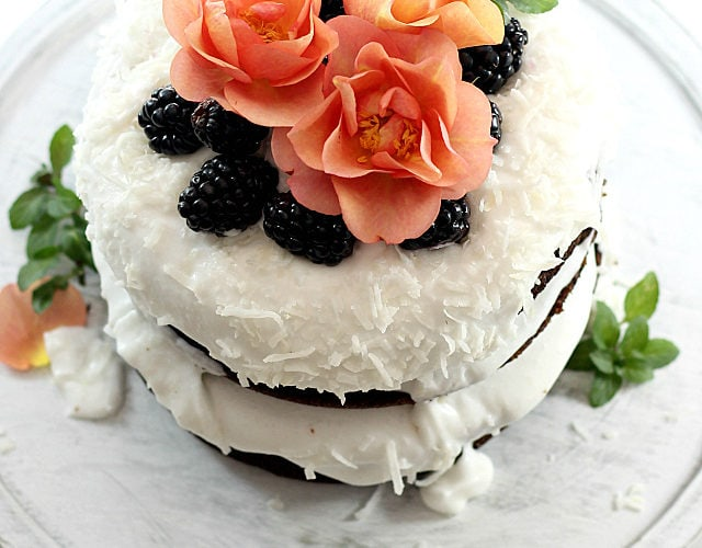 dessert with flowers and fruit on top