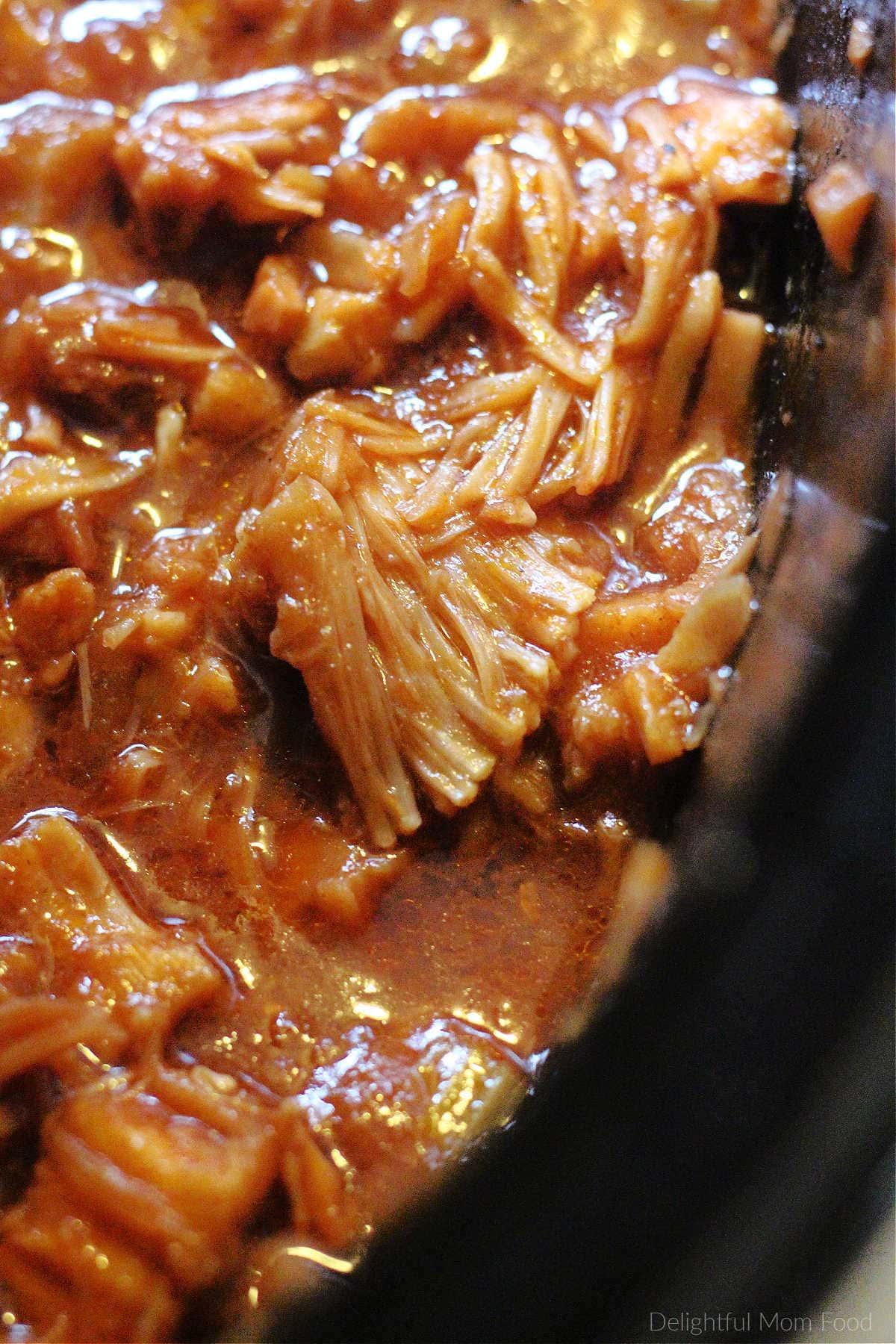 vegan jackfruit pulled pork in the slow cooker