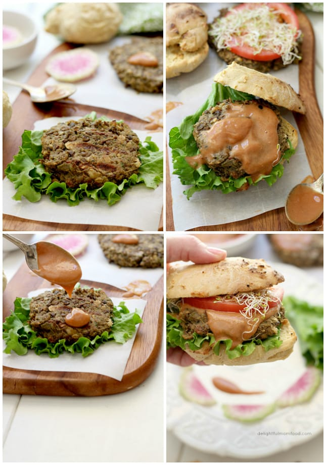 Juicy mouthwatering Veggie Burger made of cooked lentils and zucchini. A flavorful meat-like texture and gluten free patty!   Delightful Mom Food